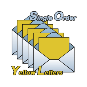 yellow Letters Single Order. Pick your amount in multiples of 100 and we will send it out